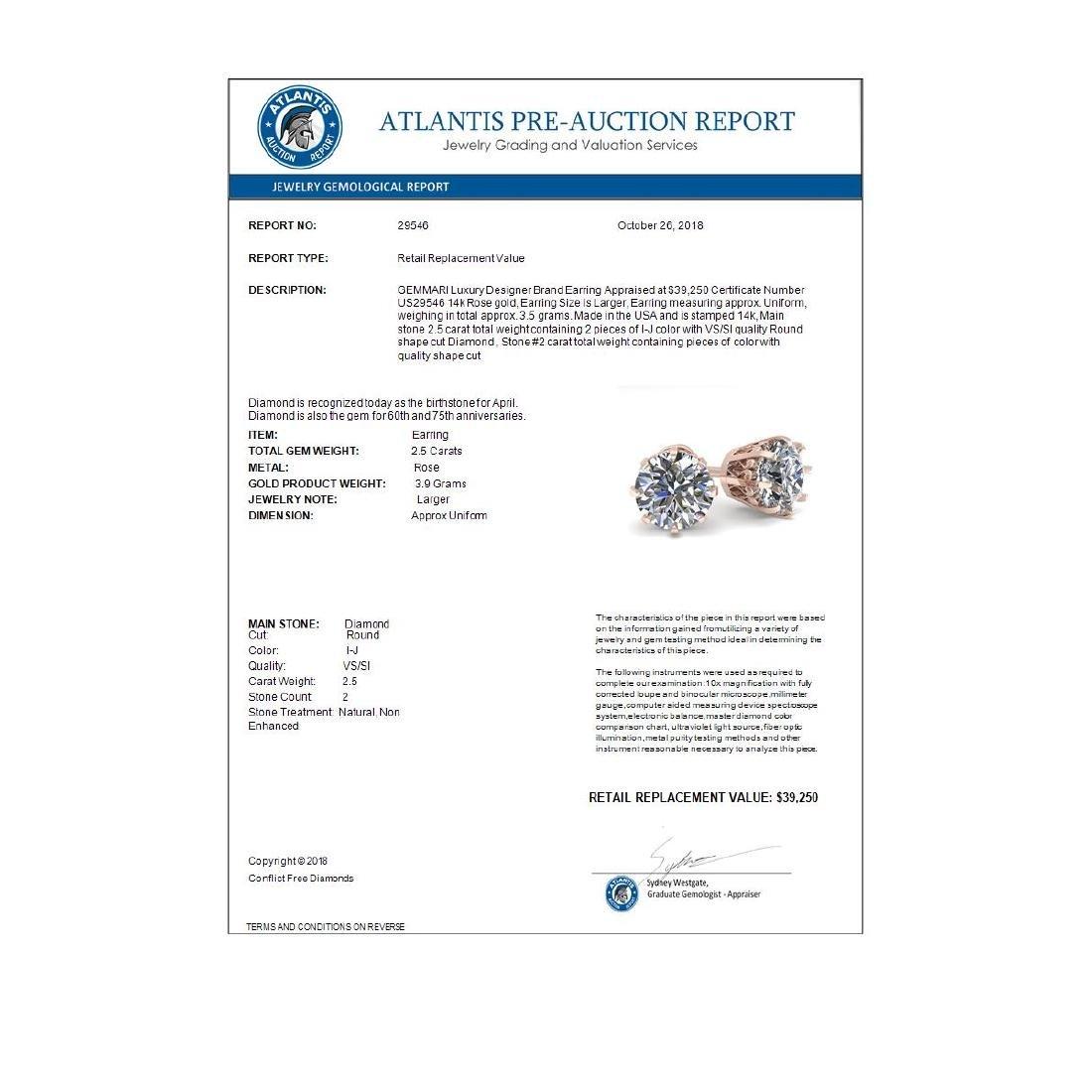 2.50 ctw VS/SI Diamond Stud Solitaire Earrings 14K Rose - 3