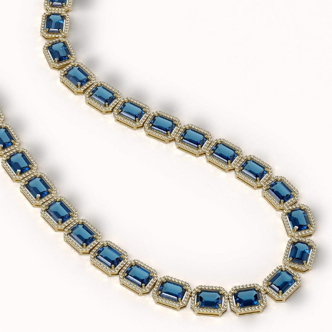 79.66 ctw London Topaz & Diamond Halo Necklace 10K - 2