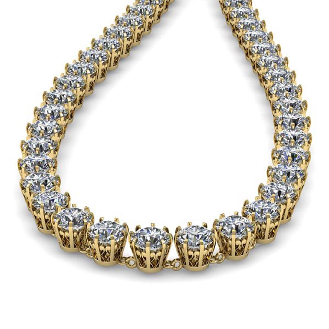 30 ctw SI Diamond Necklace 14K Yellow Gold - - 2