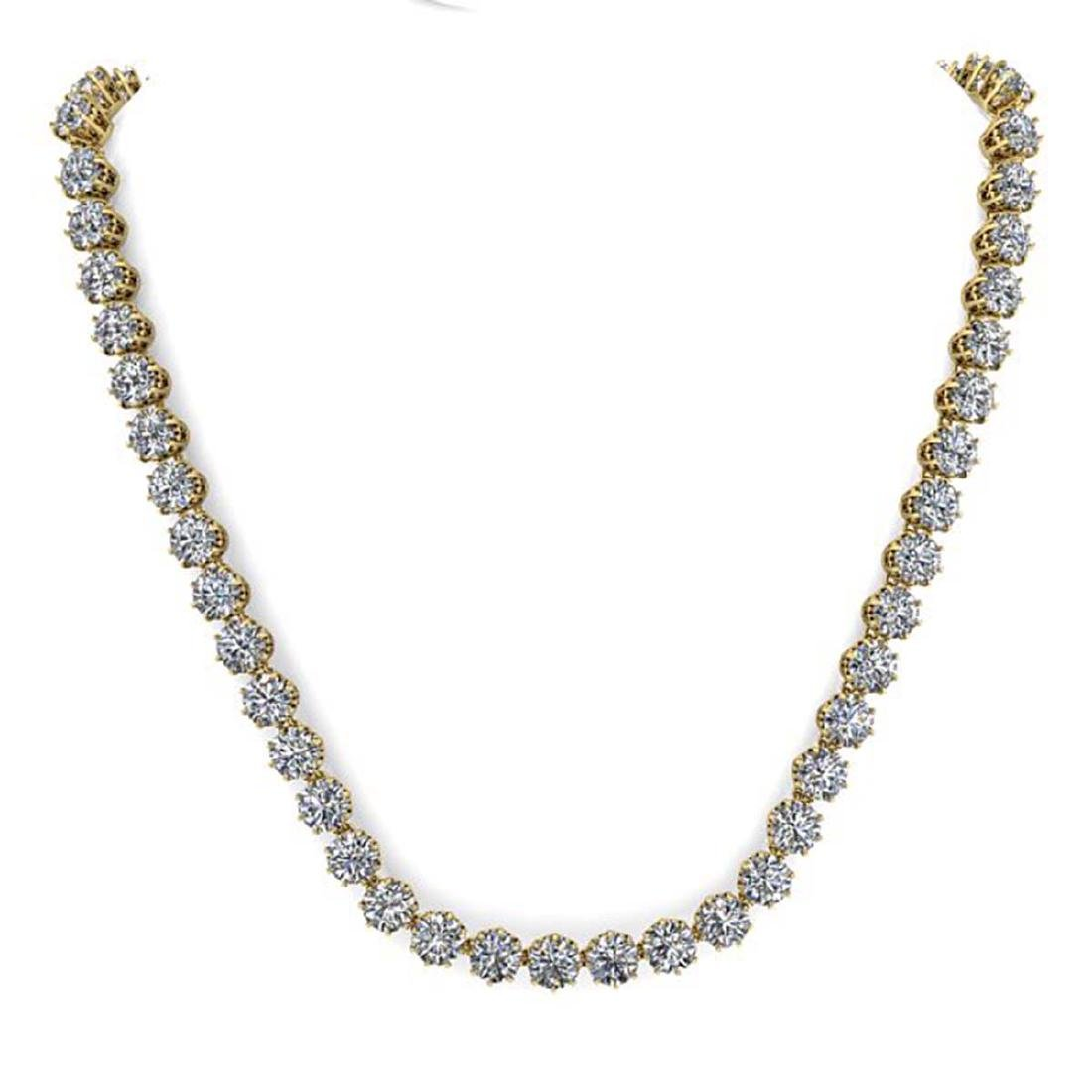 30 ctw SI Diamond Necklace 14K Yellow Gold - - 3