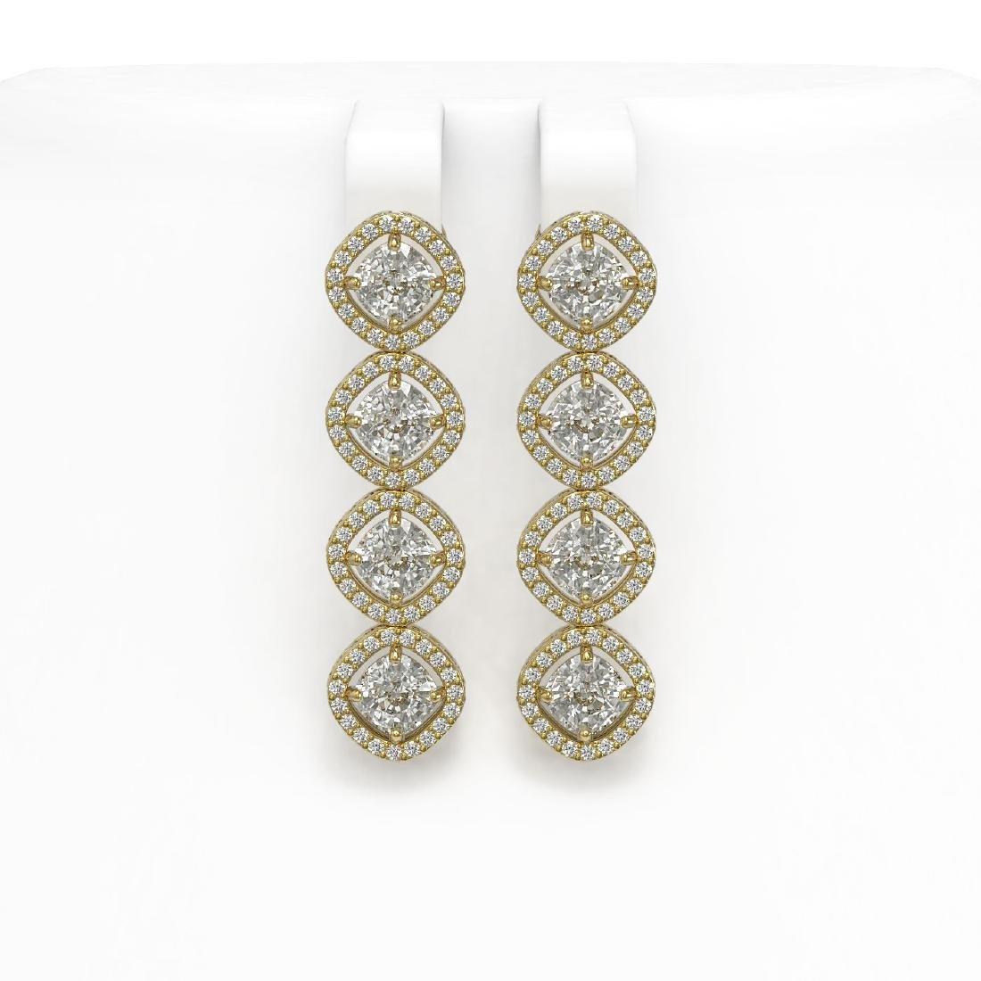 5.85 ctw Cushion Diamond Designer Earrings 18K Yellow