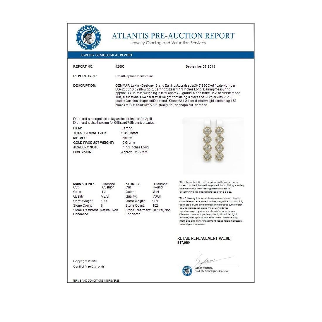 5.85 ctw Cushion Diamond Designer Earrings 18K Yellow - 4