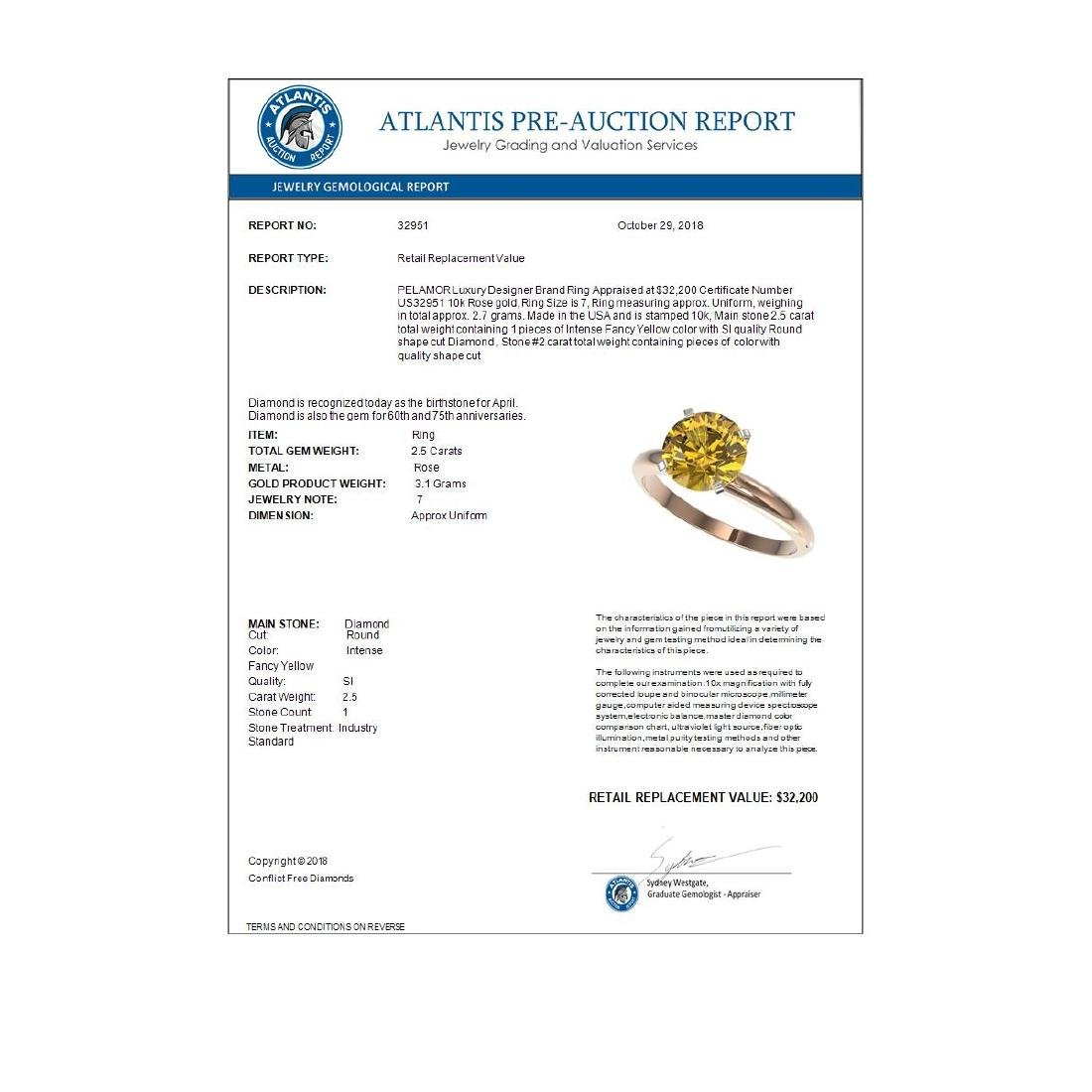 2.50 ctw Intense Yellow SI Diamond Solitaire Ring 10K - 4