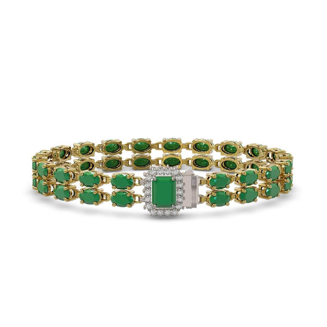 29.01 ctw Emerald & Diamond Bracelet 14K Yellow Gold -