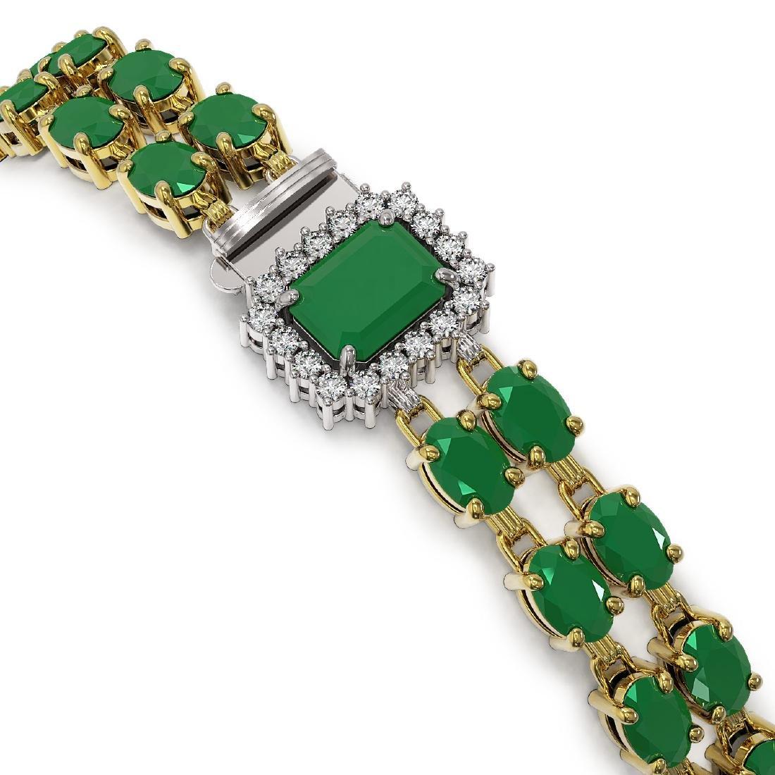 29.01 ctw Emerald & Diamond Bracelet 14K Yellow Gold - - 2