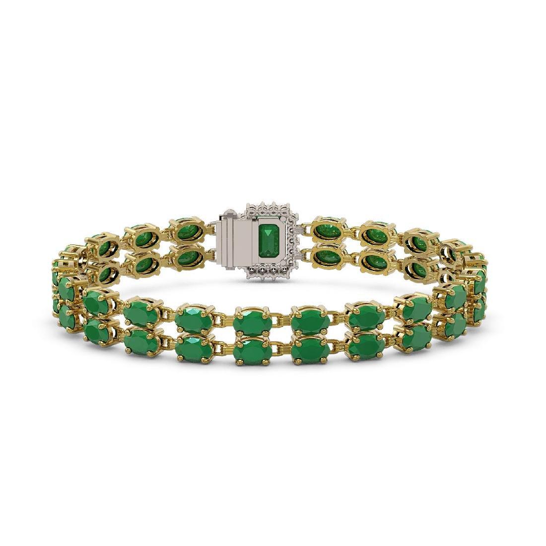 29.01 ctw Emerald & Diamond Bracelet 14K Yellow Gold - - 3