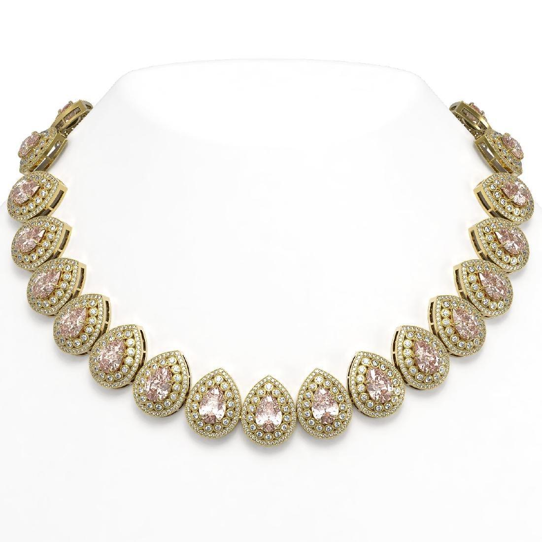 103.22 ctw Morganite & Diamond Victorian Necklace 14K