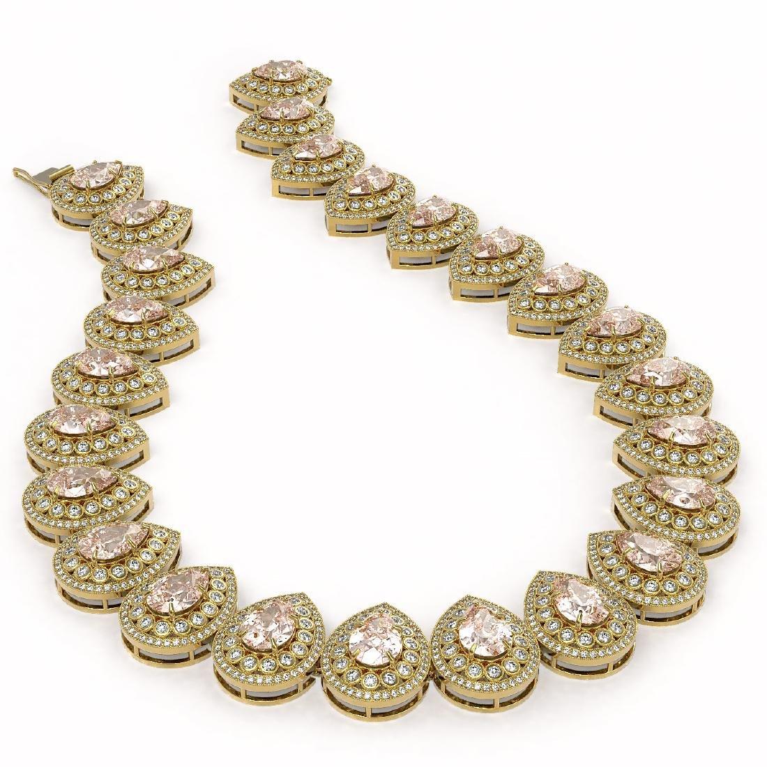 103.22 ctw Morganite & Diamond Victorian Necklace 14K - 2