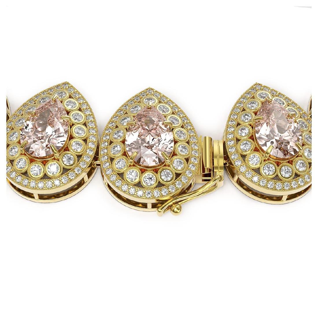 103.22 ctw Morganite & Diamond Victorian Necklace 14K - 3