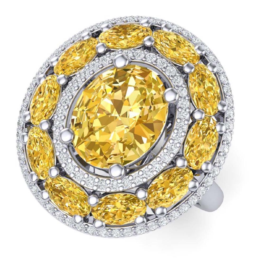 7.21 ctw Canary Citrine & VS Diamond Ring 18K White
