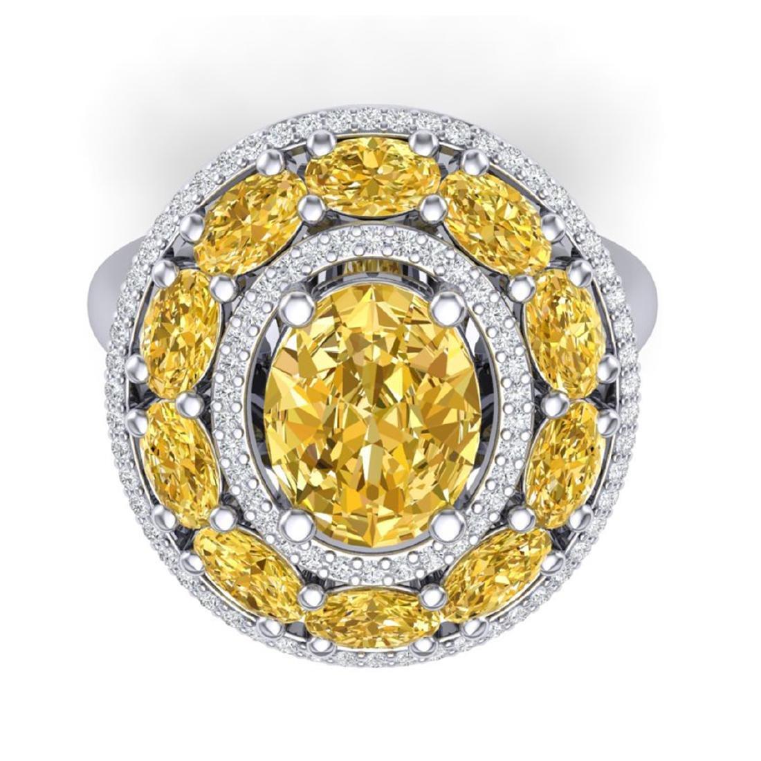 7.21 ctw Canary Citrine & VS Diamond Ring 18K White - 2