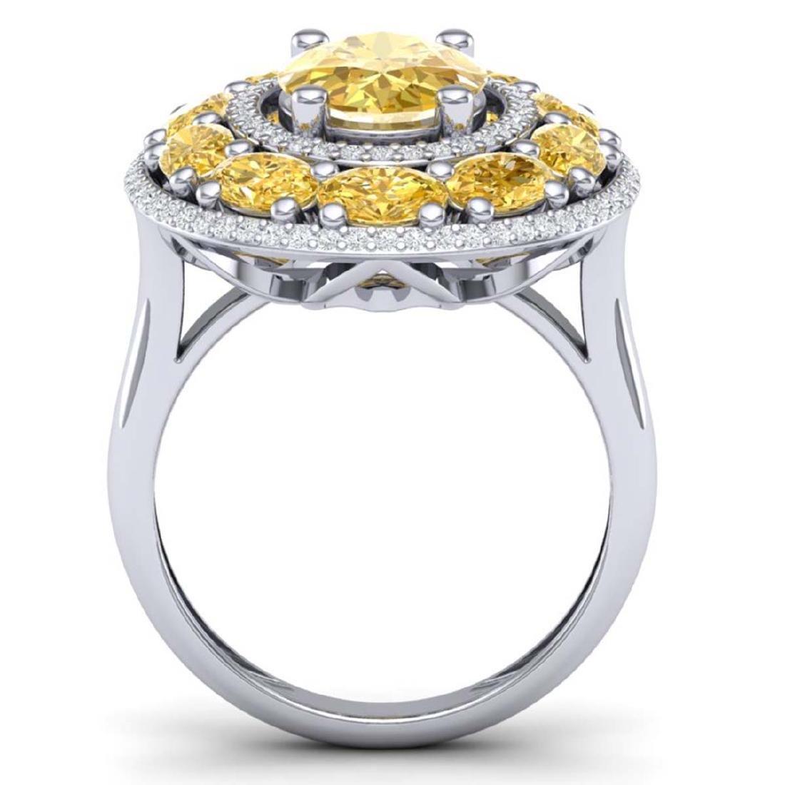 7.21 ctw Canary Citrine & VS Diamond Ring 18K White - 3