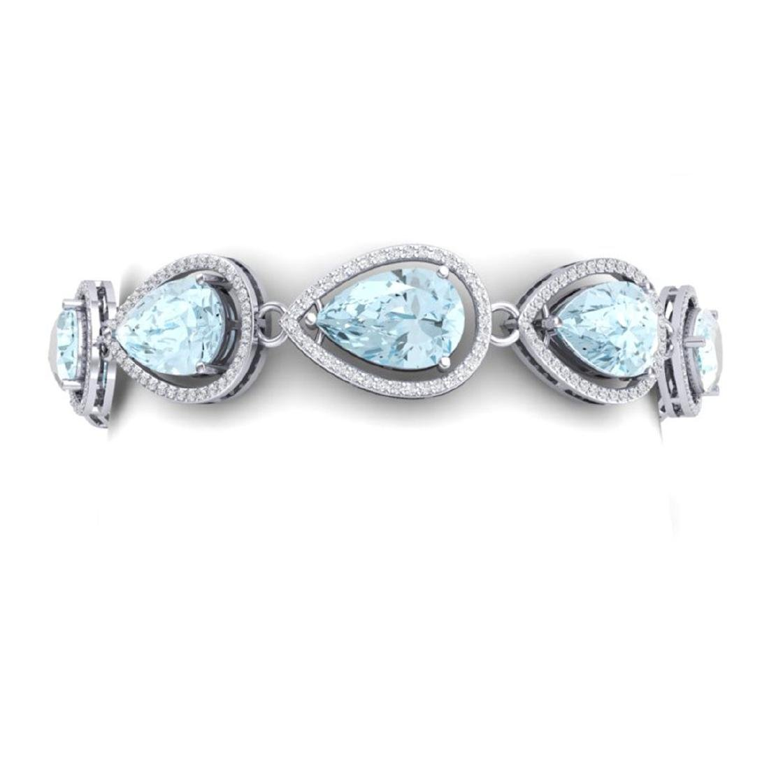 25.53 ctw Sky Topaz & VS Diamond Bracelet 18K White