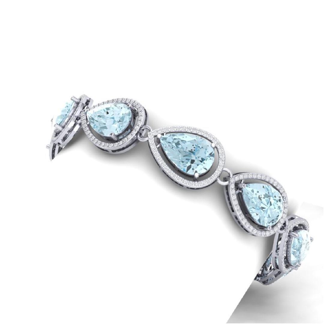 25.53 ctw Sky Topaz & VS Diamond Bracelet 18K White - 2