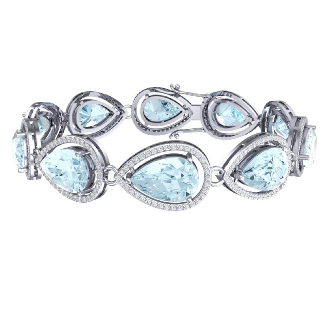 25.53 ctw Sky Topaz & VS Diamond Bracelet 18K White - 3