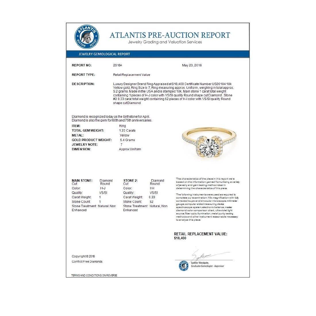 1.33 ctw VS/SI Diamond Halo Ring 18K Yellow Gold - - 4