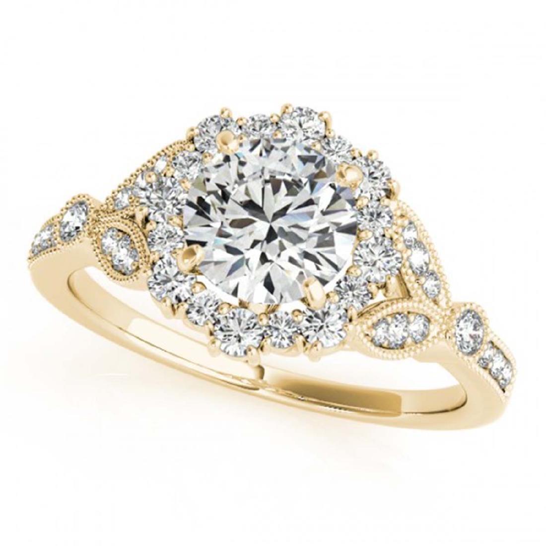 1 ctw VS/SI Diamond Halo Ring 18K Yellow Gold -