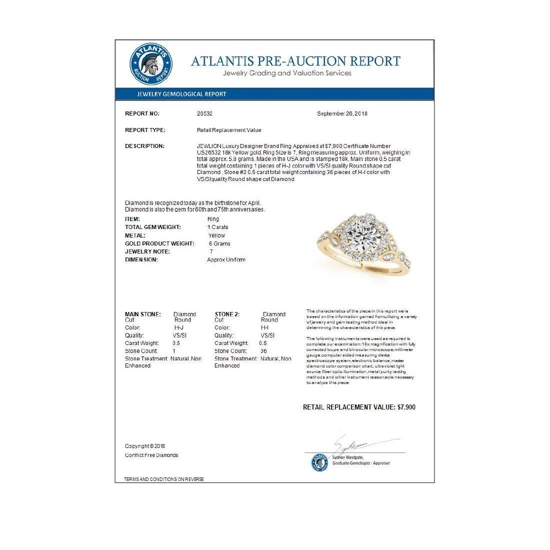 1 ctw VS/SI Diamond Halo Ring 18K Yellow Gold - - 3