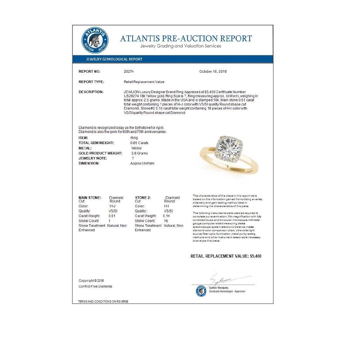 0.65 ctw VS/SI Diamond Halo Ring 18K Yellow Gold - - 3
