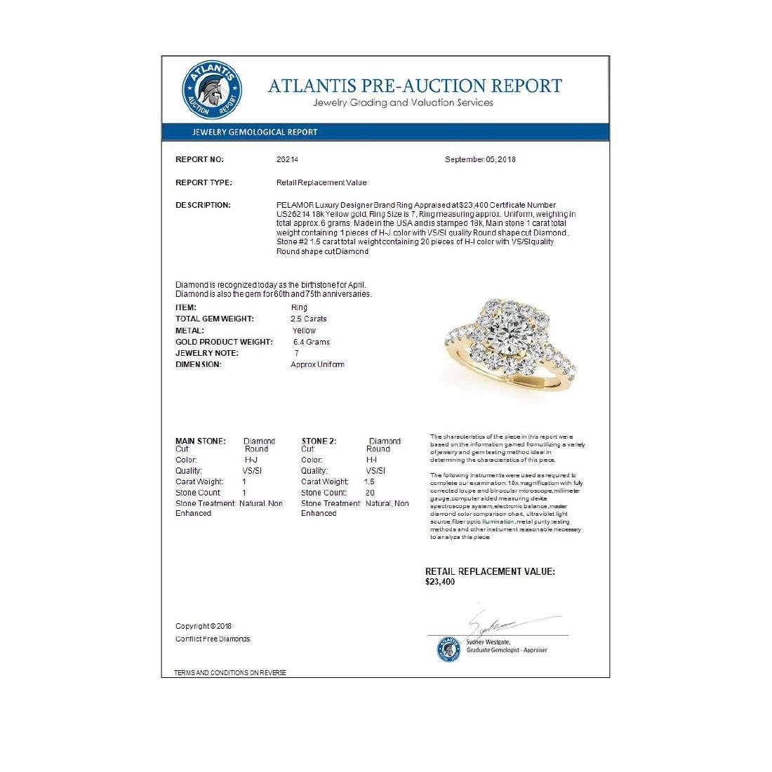 2.5 ctw VS/SI Diamond Halo Ring 18K Yellow Gold - - 3