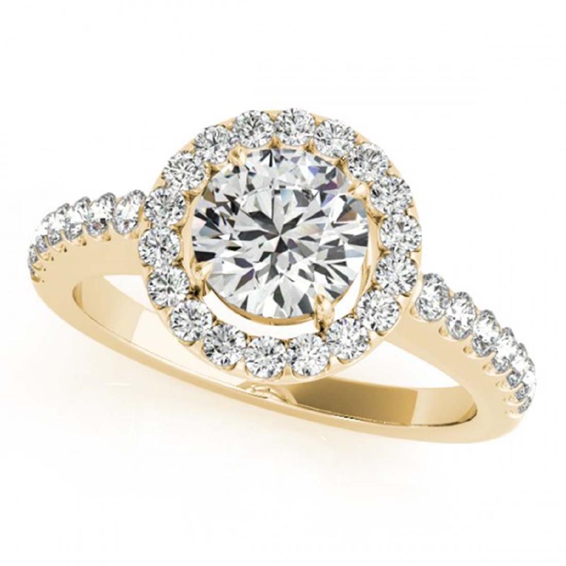 0.76 ctw VS/SI Diamond Halo Ring 18K Yellow Gold -