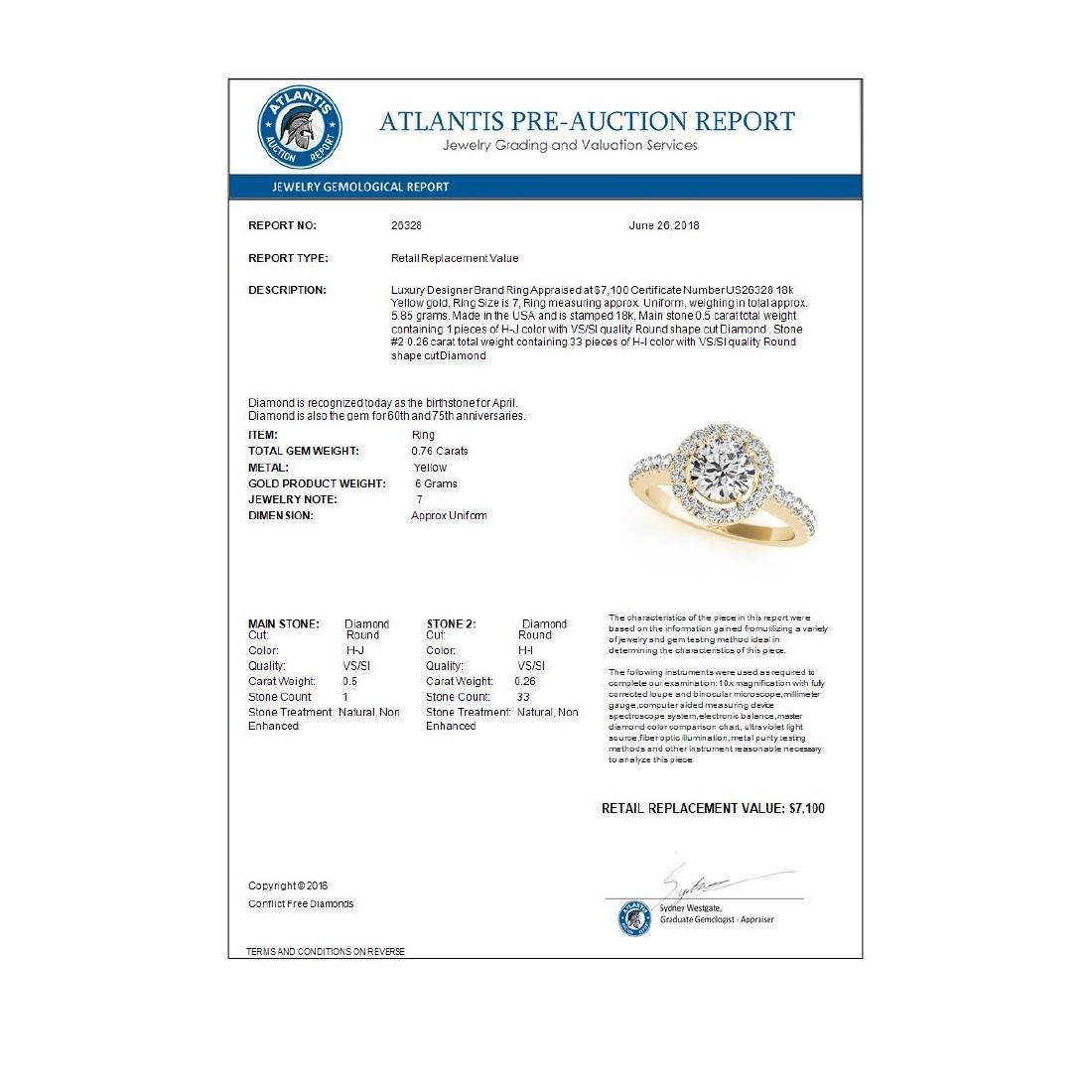 0.76 ctw VS/SI Diamond Halo Ring 18K Yellow Gold - - 3
