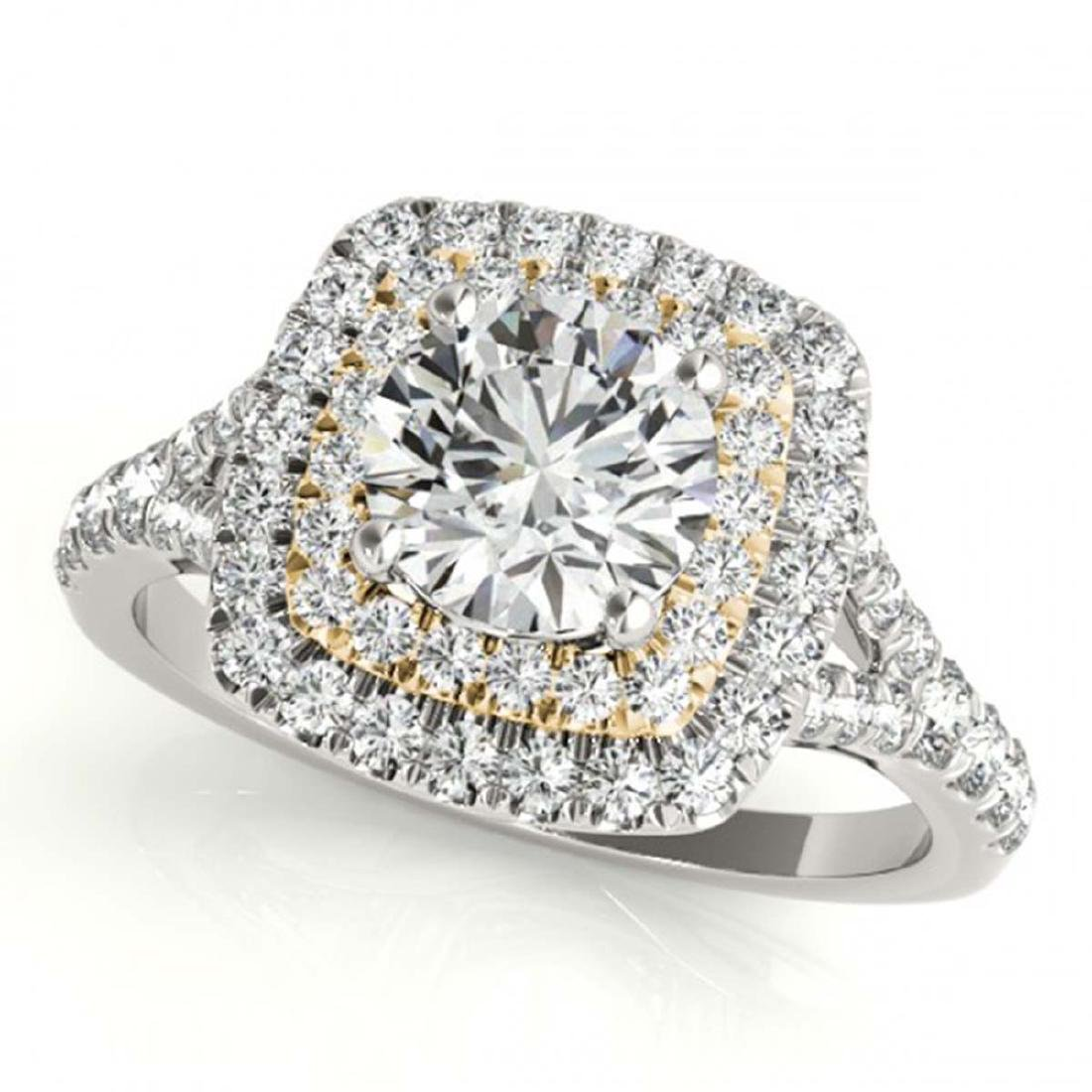 1.60 ctw VS/SI Diamond Solitaire Halo Ring 18K White &