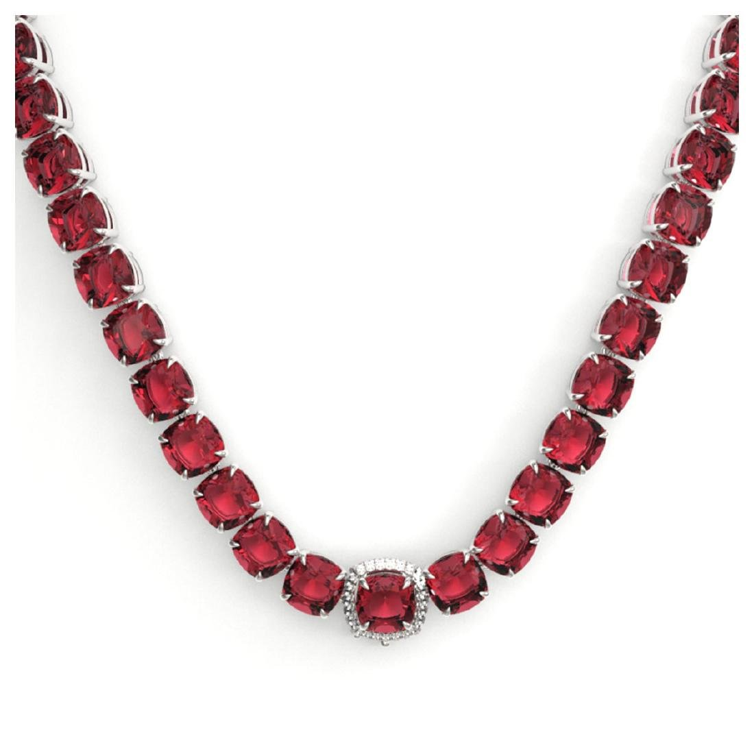 100 ctw Pink Tourmaline & VS/SI Diamond Necklace 14K - 2