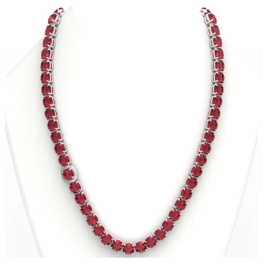 100 ctw Pink Tourmaline & VS/SI Diamond Necklace 14K - 3