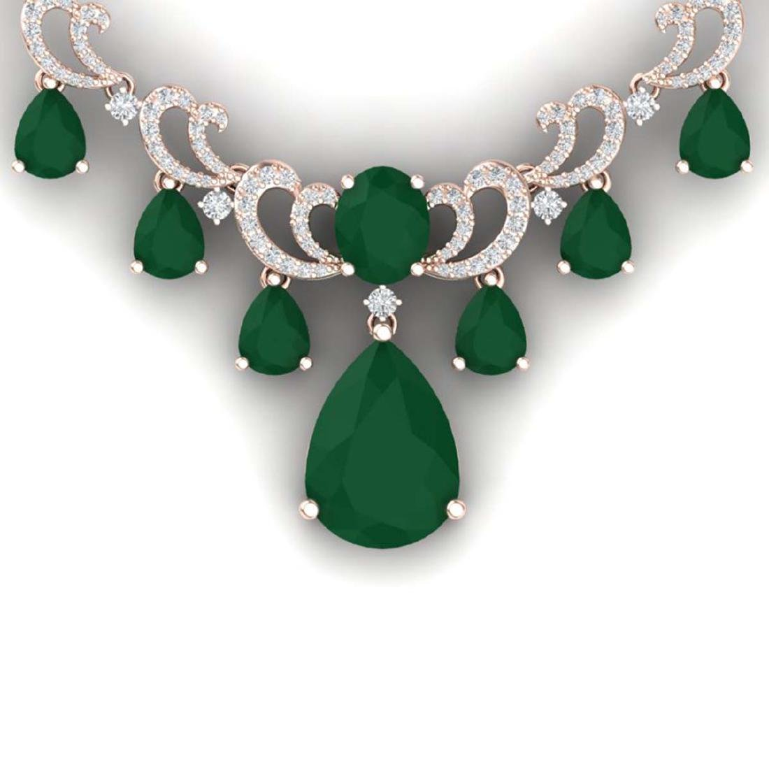 36.85 ctw Emerald & VS Diamond Necklace 18K Rose Gold -