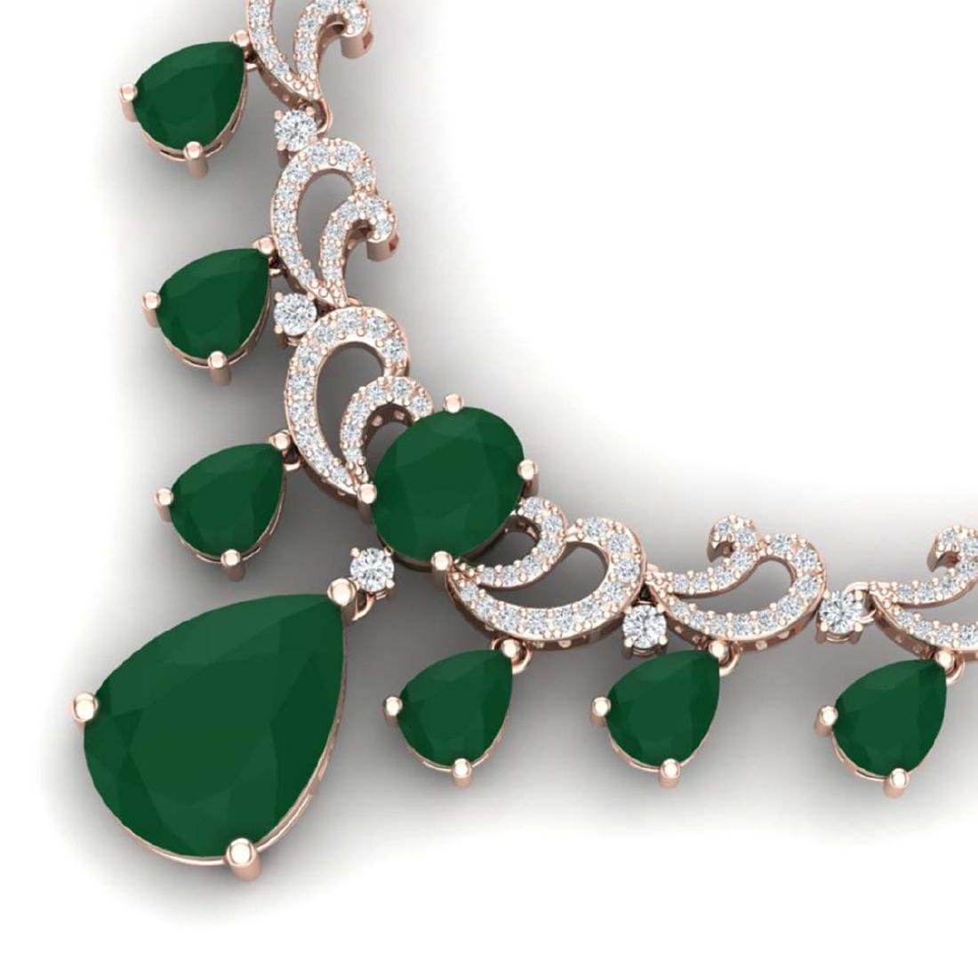 36.85 ctw Emerald & VS Diamond Necklace 18K Rose Gold - - 2