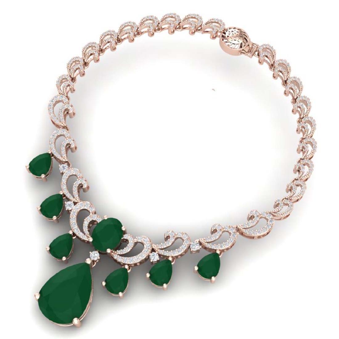 36.85 ctw Emerald & VS Diamond Necklace 18K Rose Gold - - 3