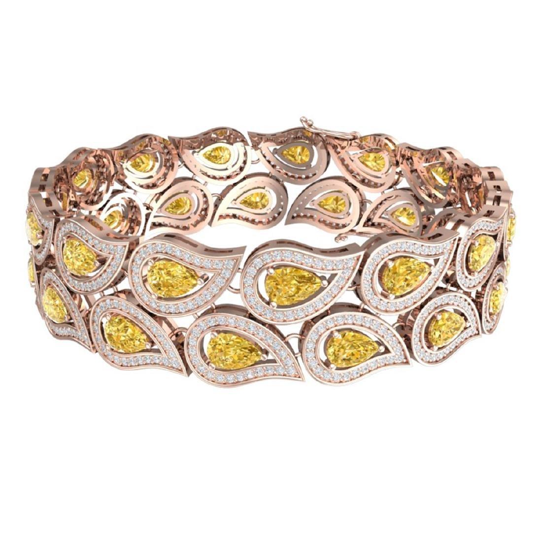 18.61 ctw Canary Citrine & VS Diamond Bracelet 18K Rose - 3