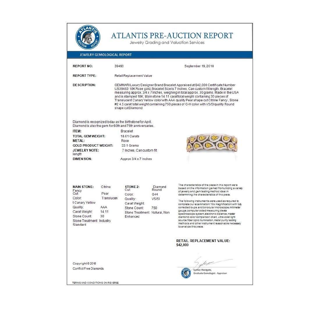 18.61 ctw Canary Citrine & VS Diamond Bracelet 18K Rose - 4