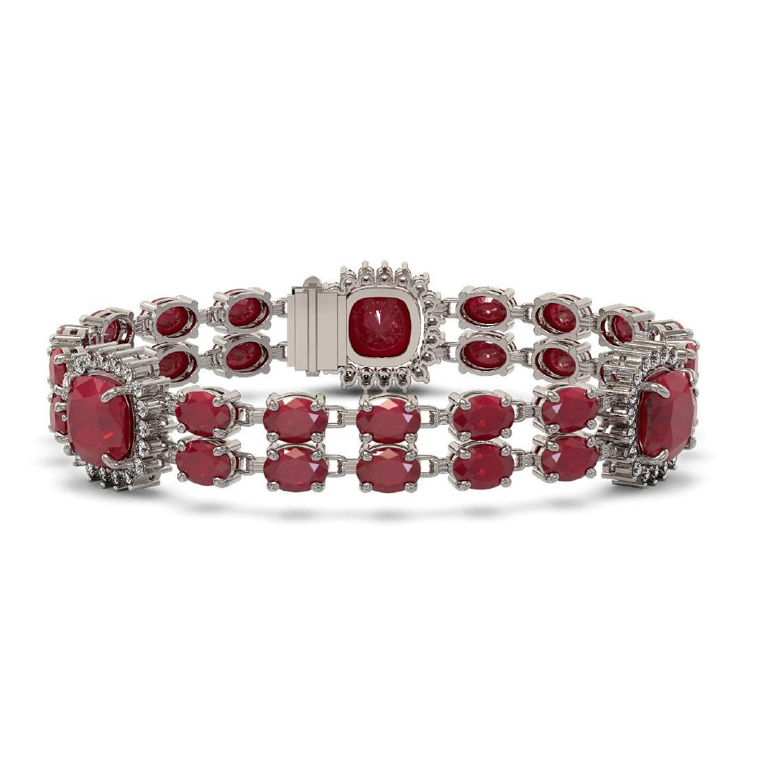 40.35 ctw Ruby & Diamond Bracelet 14K White Gold -
