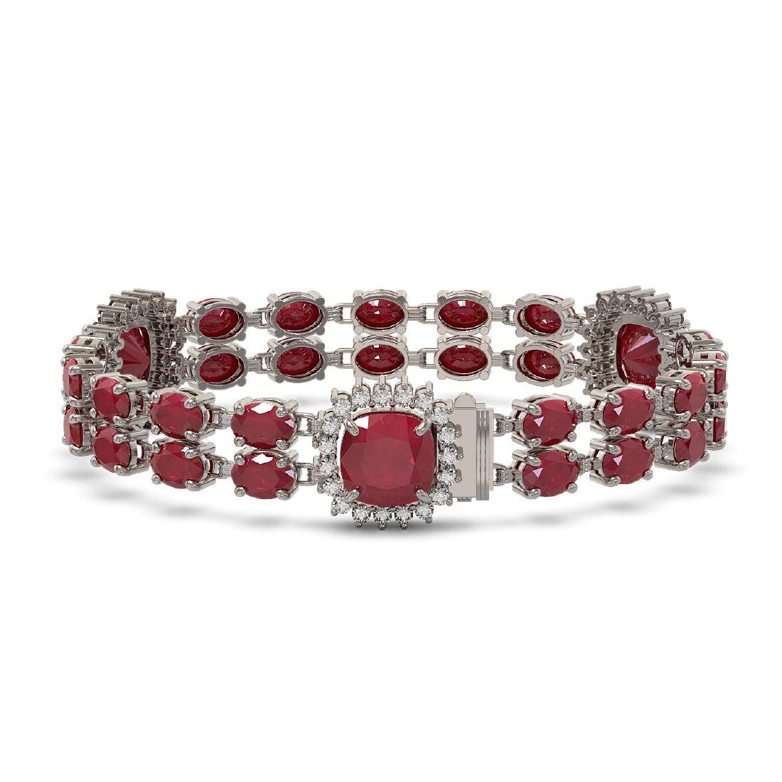 40.35 ctw Ruby & Diamond Bracelet 14K White Gold - - 2
