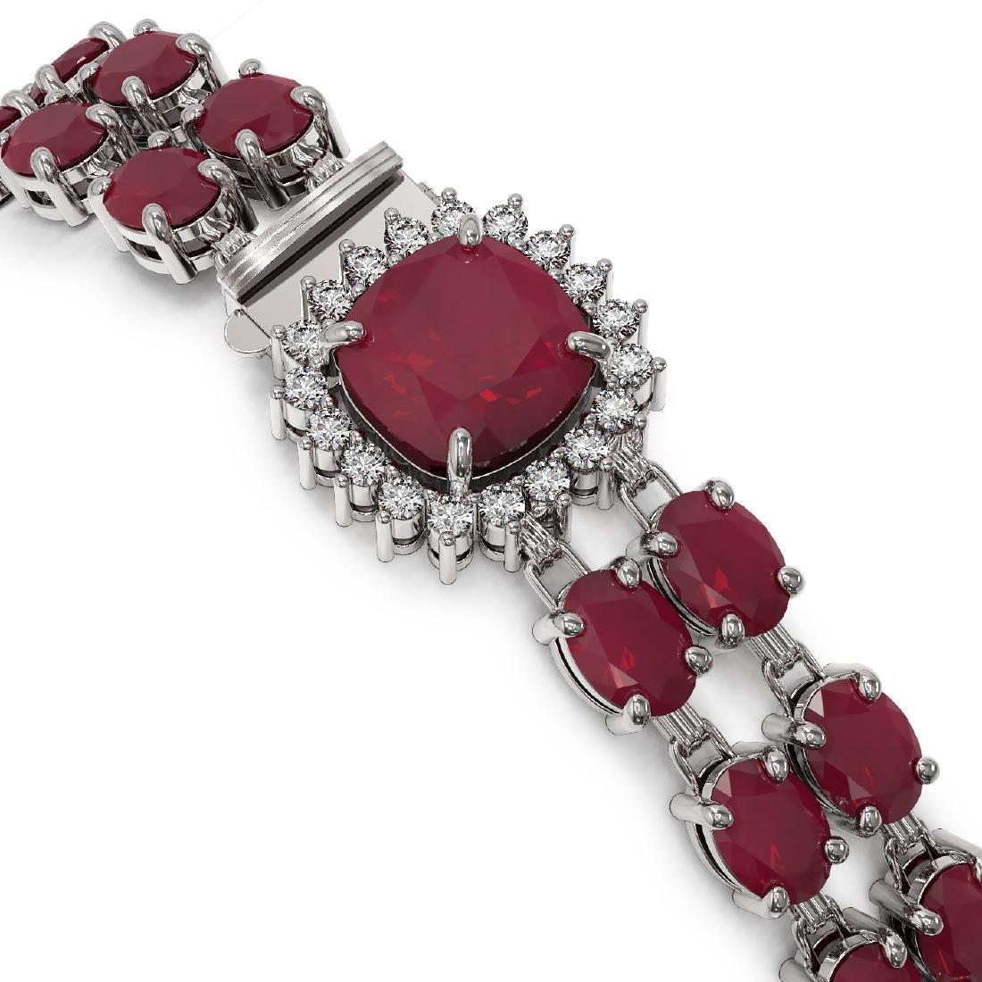 40.35 ctw Ruby & Diamond Bracelet 14K White Gold - - 3