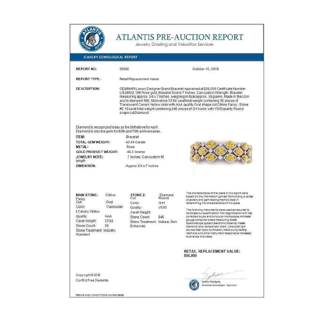 43.84 ctw Canary Citrine & VS Diamond Bracelet 18K Rose - 4