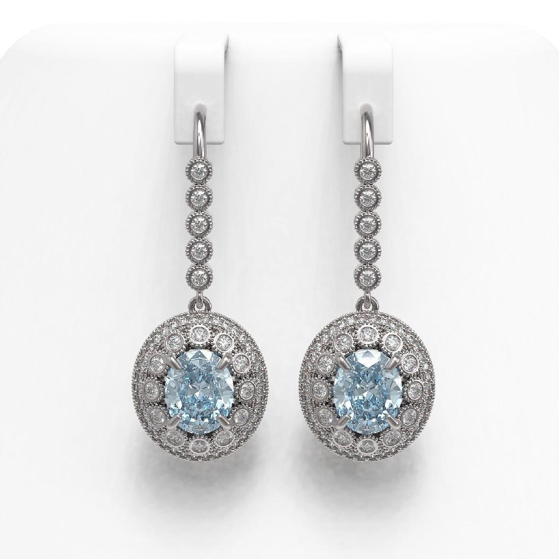 7.65 ctw Aquamarine & Diamond Earrings 14K White Gold -