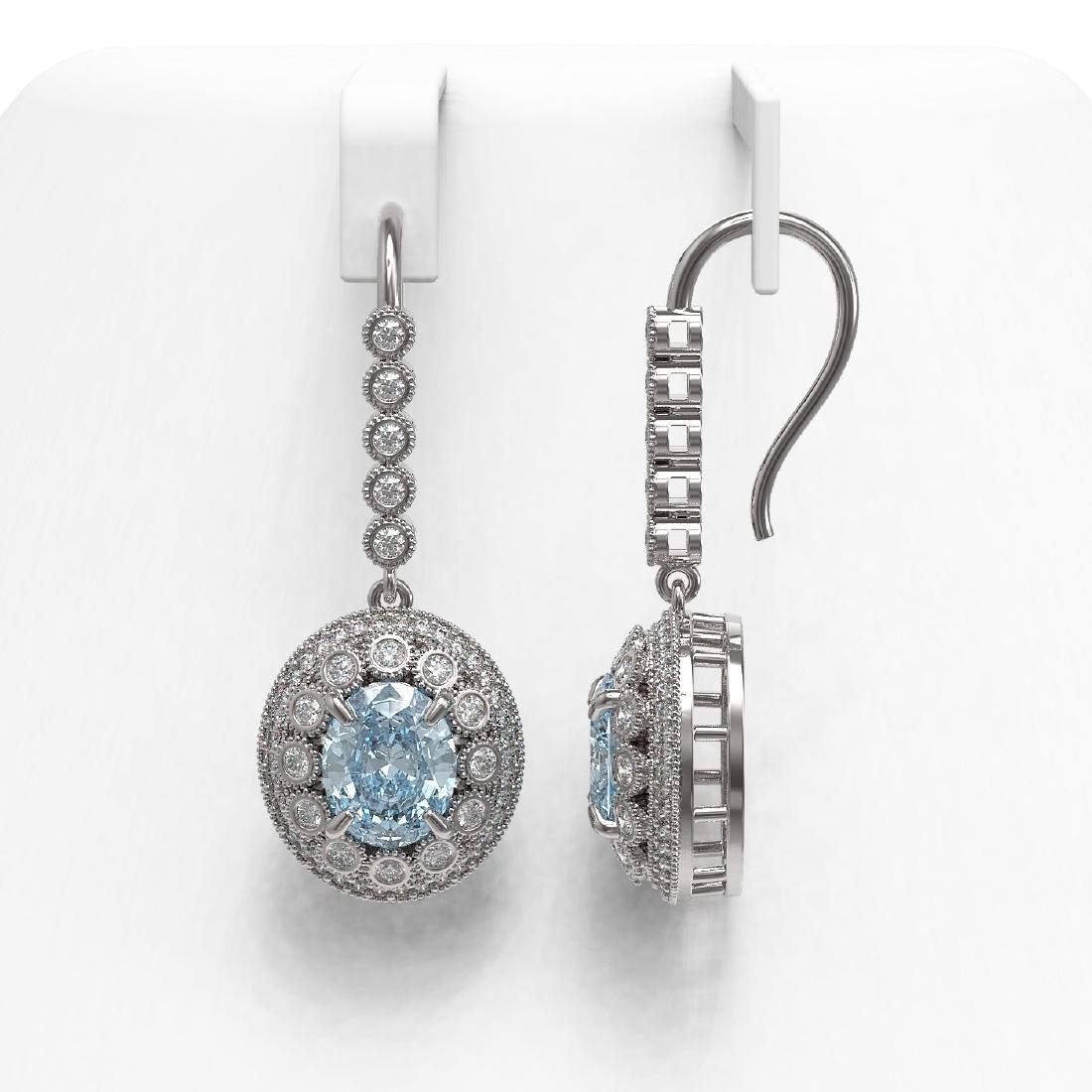 7.65 ctw Aquamarine & Diamond Earrings 14K White Gold - - 2