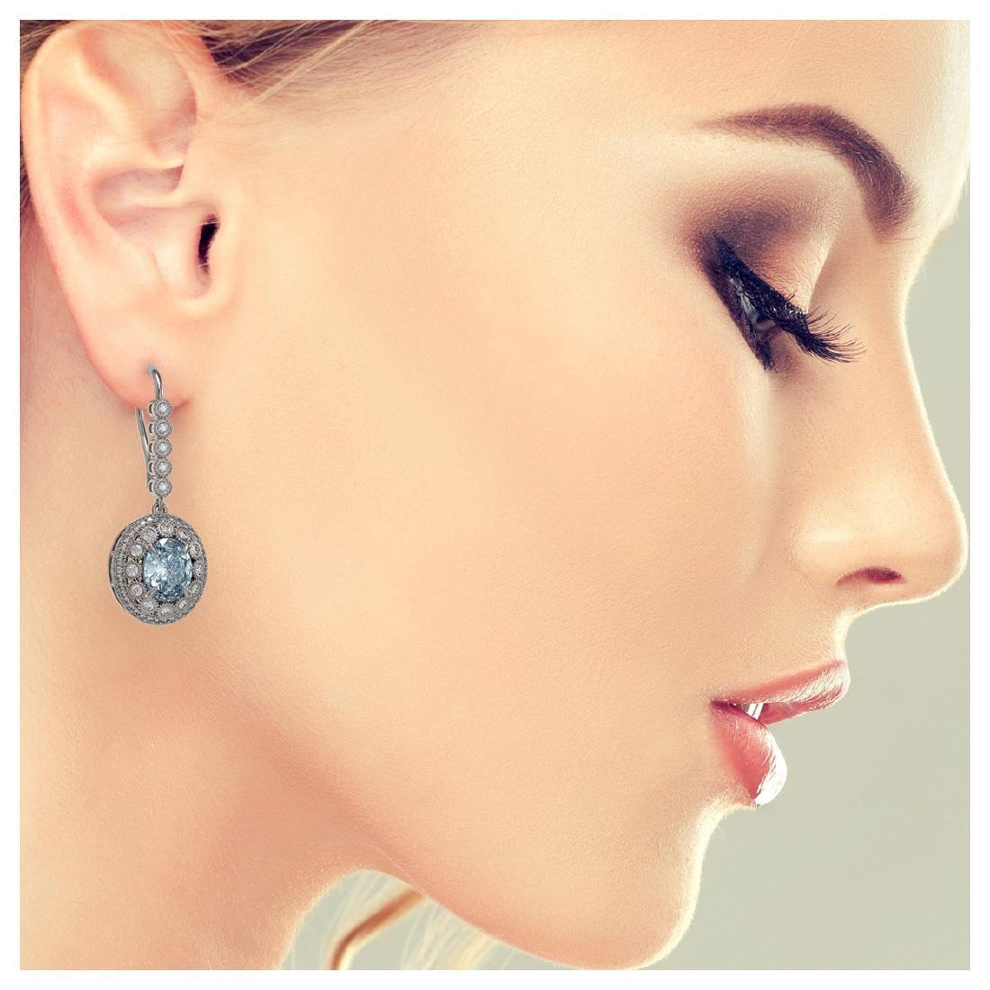 7.65 ctw Aquamarine & Diamond Earrings 14K White Gold - - 3