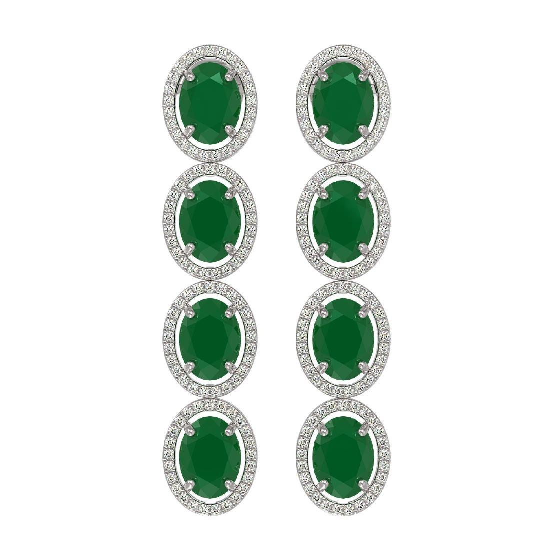 15.68 ctw Emerald & Diamond Halo Earrings 10K White