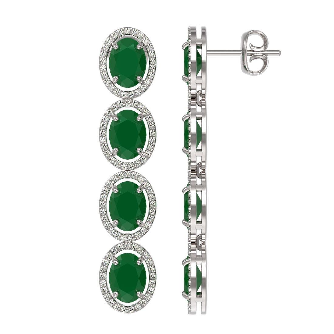 15.68 ctw Emerald & Diamond Halo Earrings 10K White - 2