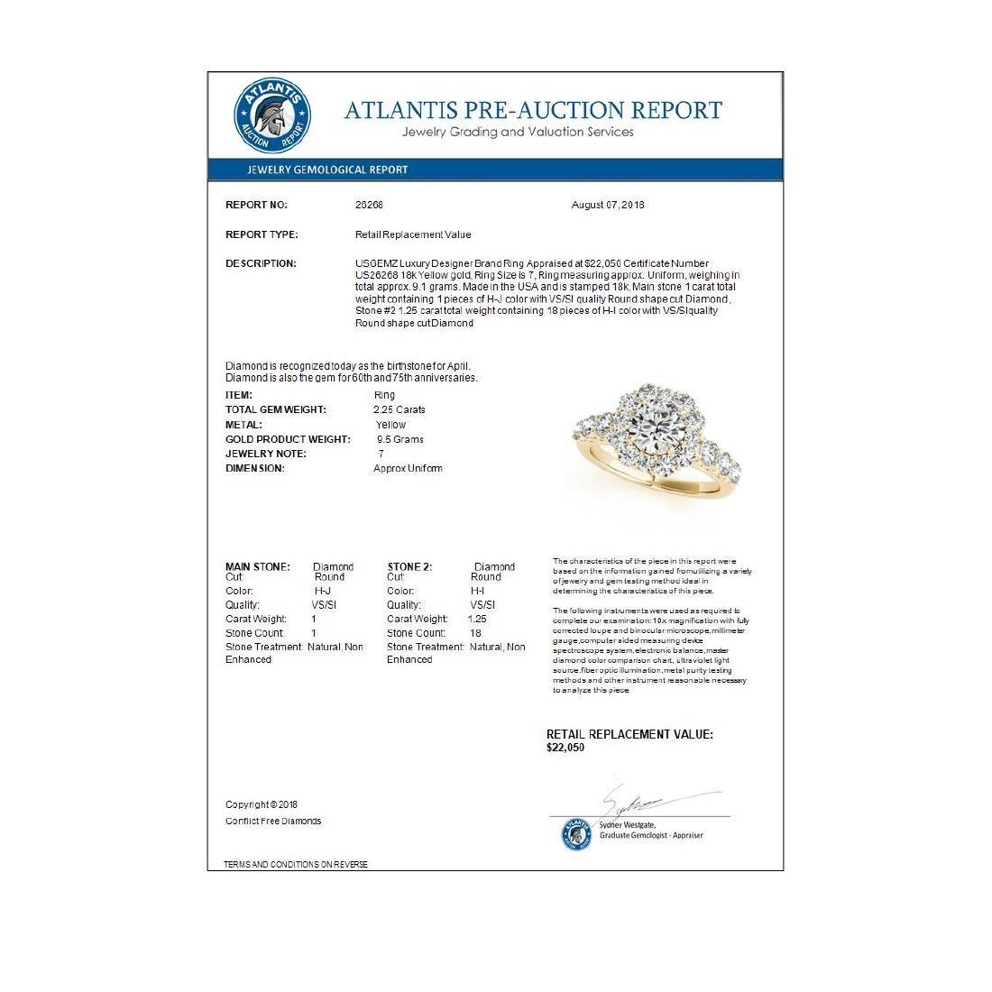 2.25 ctw VS/SI Diamond Halo Ring 18K Yellow Gold - - 3