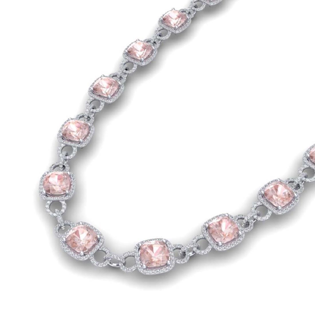 49 ctw Morganite & VS/SI Diamond Necklace 14K White