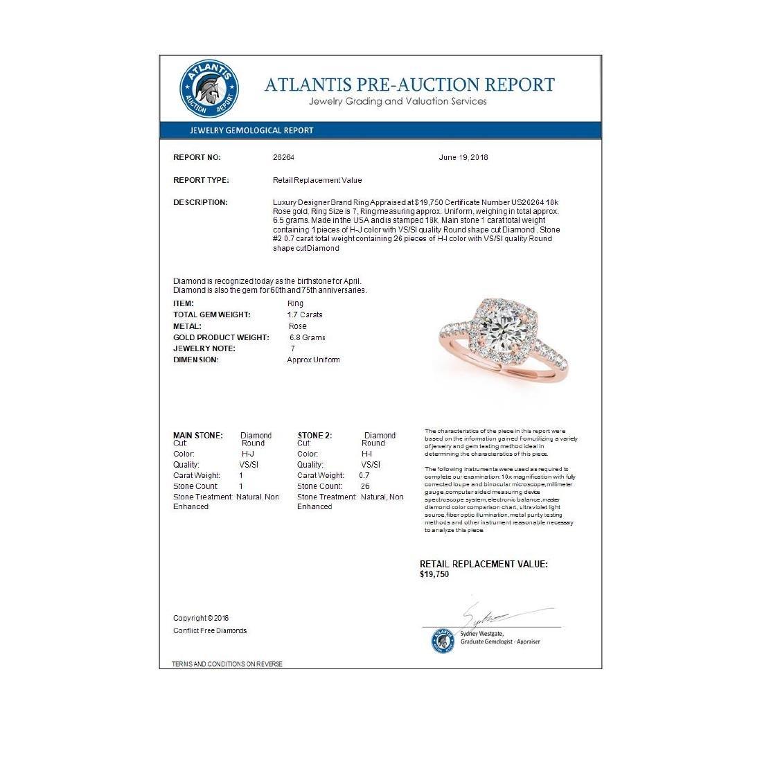 1.70 ctw VS/SI Diamond Halo Ring 18K Rose Gold - - 3