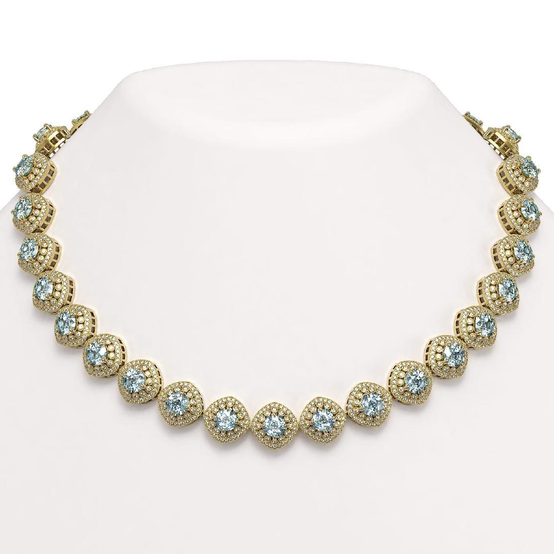 72.27 ctw Aquamarine & Diamond Necklace 14K Yellow Gold