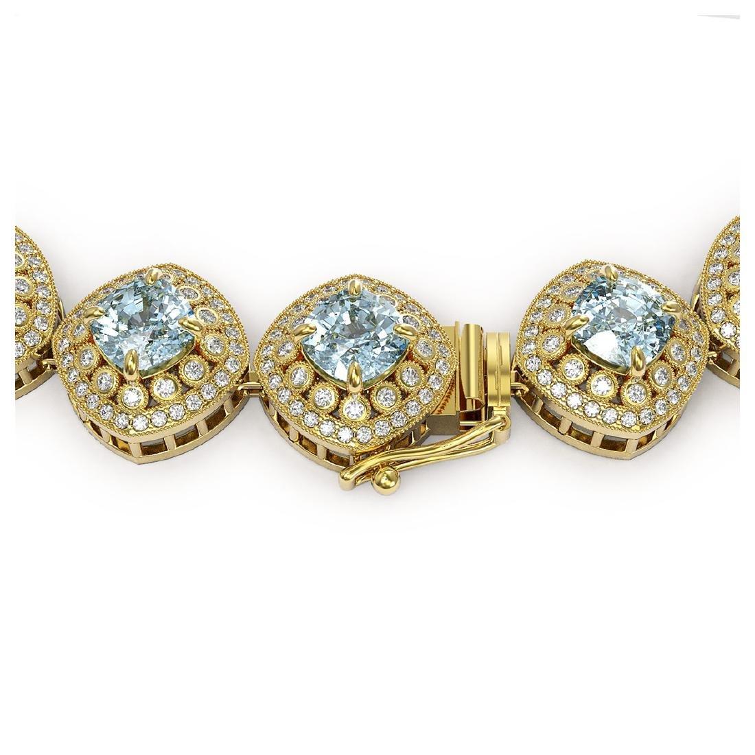 72.27 ctw Aquamarine & Diamond Necklace 14K Yellow Gold - 3