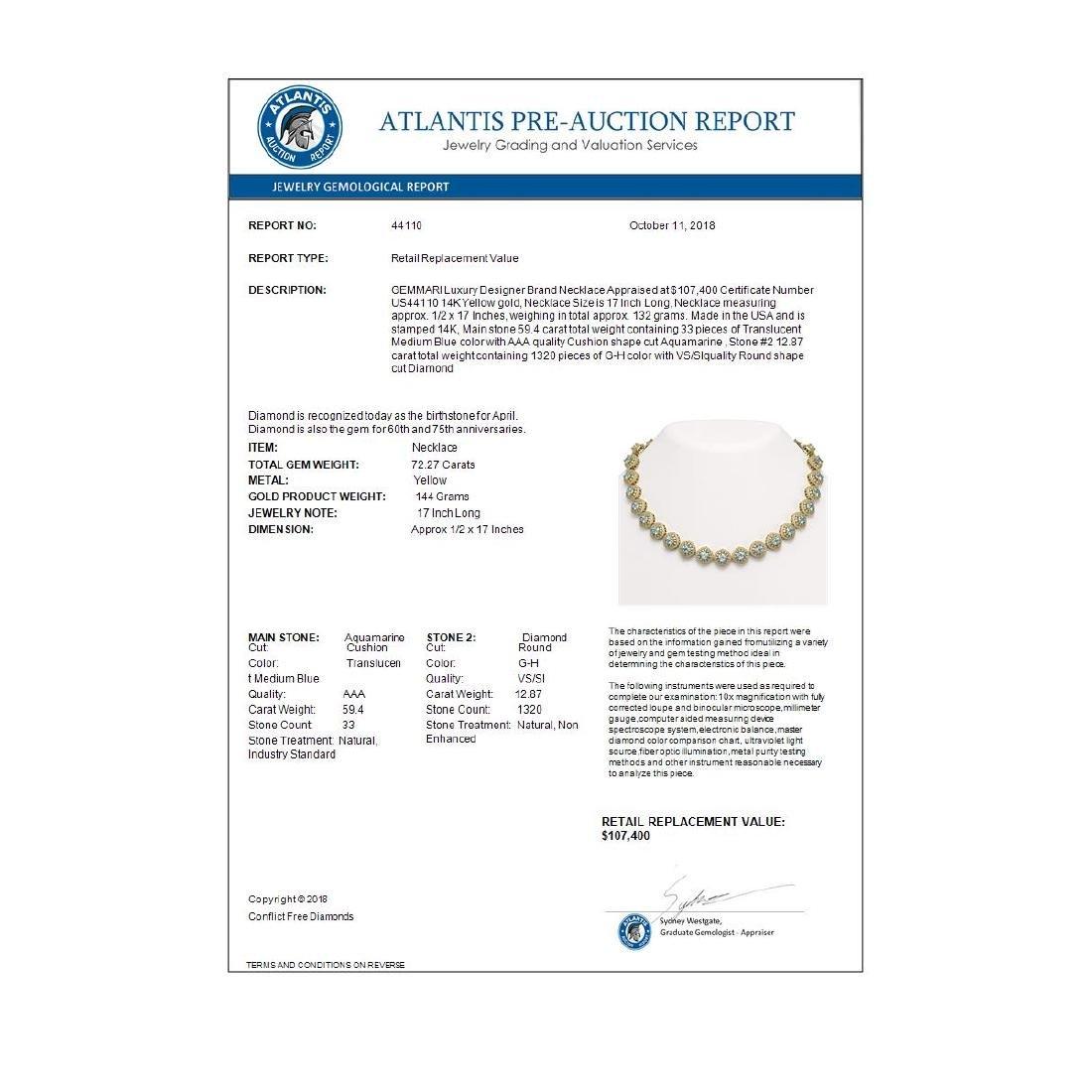 72.27 ctw Aquamarine & Diamond Necklace 14K Yellow Gold - 4