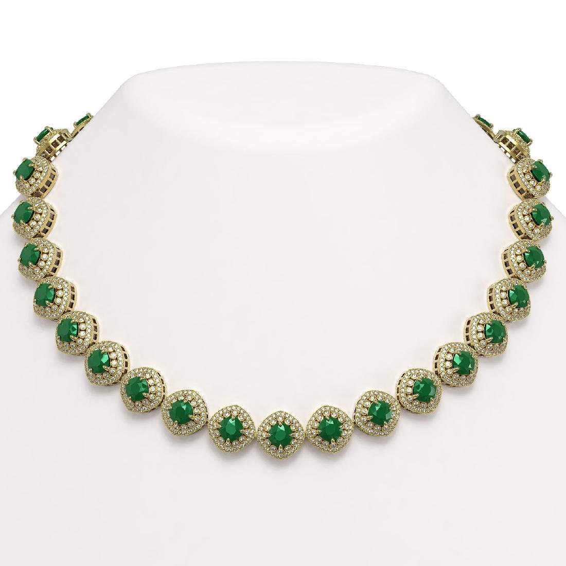 82.17 ctw Emerald & Diamond Necklace 14K Yellow Gold -